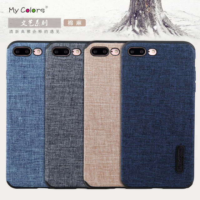 hot sales 04f4b 598f2 US $9.99 |Case For Apple iPhone 7 7 Plus Casing Woven fabric denim Cloth  soft silicone Luxury Ultra slim protection Cover funda coque-in Fitted  Cases ...
