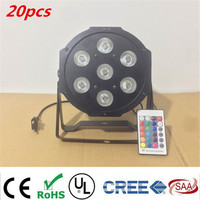 12pcs Lot Wireless Remote Control LED The Brightest 8 Dmx Channels Led Flat Par 7x12W RGBW