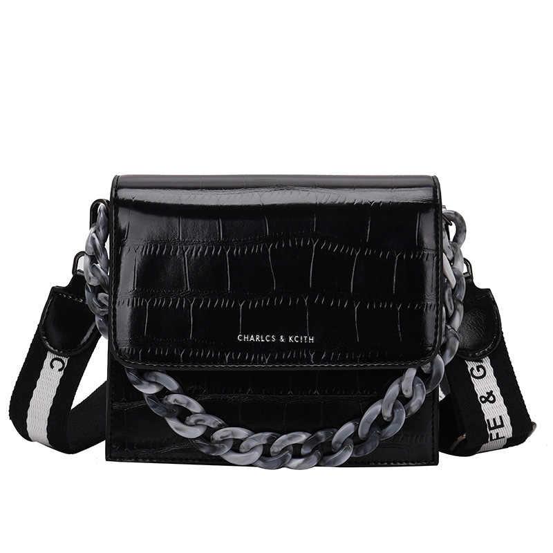 Новая Маленькая женская сумка 2019 новая волна дикая цепь сумка через плечо камень узор на плечо модная сумка