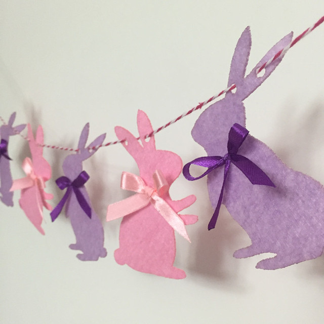 Party Garland Cute Rabbit Bunny Flags Bunting Banner Wall Decor Baby Shower  Decorations Kids Birthday Party