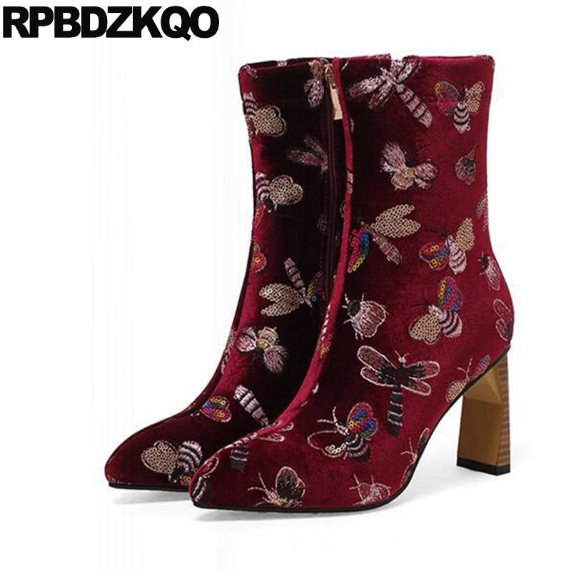 все цены на High Heel Ankle Elegant Wine Red Pointed Toe Boots Glitter Chunky Brand Embroidery Short Big Size Designer Shoes Women Luxury онлайн