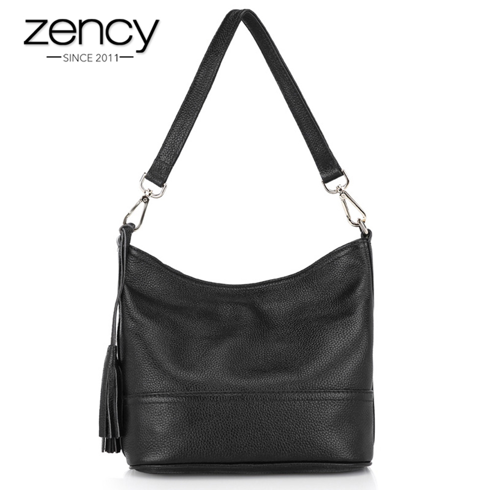 Zency 100% Genuine Leather Fashion Women Shoulder Bag With Tassel Holiday Messenger Crossbody Purse Classic Style Tote Handbag zency 100% real cow leather classic style women shoulder bag charm light blue lady messenger crossbody purse black tote handbag