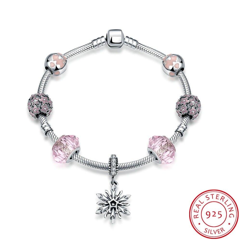 925 Sterling Silver Bracelets for Women 2016 Inlaid Jewelry Pink Glass Beads Bracelet with Snowflake Pendant Bracelet Femme все цены