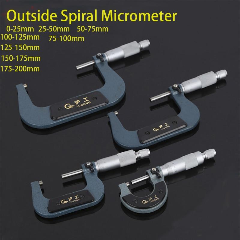 LUGONG Outside Spiral Micrometer 0-25mm/ 25-50mm/ 50-75mm/ 75-100mm Accuracy 0.01mm Gauge Vernier Caliper Measuring Tools