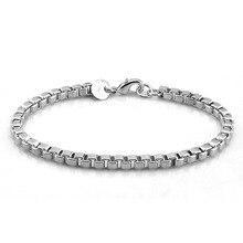 Men bracelet Genuine Solid 925 Sterling Silver Box Chain bracelet Men велосипед novatrack 14 astra чёрный 143 astra bk5