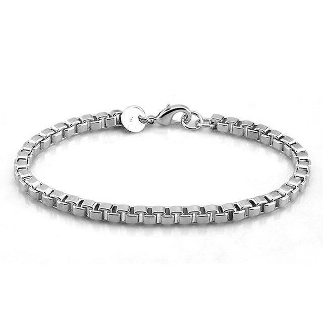 Men Bracelet Genuine Solid 925 Sterling Silver 4mm 19cm Box Chain Fashion 100