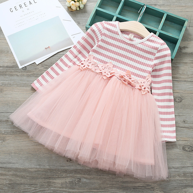 8d80c65450a6 3Colors Spring Clothing Sweet Girls Stripe Lace Flower Tutu Dress ...