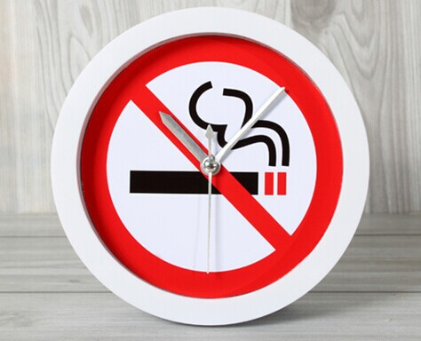051434 Smoking is forbidden in warm prompt logo fashion creative desktop alarm clock free shipping