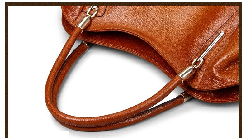 Vintage Women's Handbags Soft Genuine Leather Tote Crossbody Bag High Quality Cow Leather Shoulder Bags Female Brown Hand Bag 14