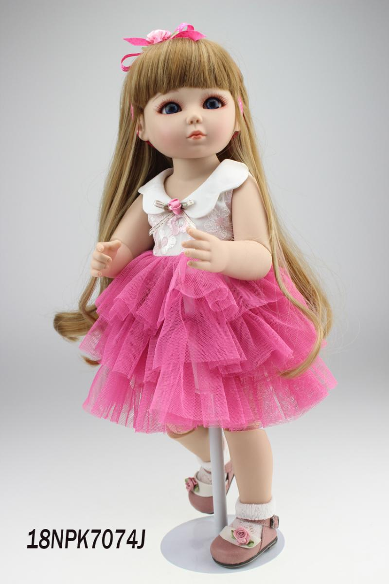 New 45cm 18'' vinyl simulation SD BJD 1/4 princess doll toy for girl baby birthday present play house brinquedos new arrived vinyl lifelike princess doll 45cm girl dress up children toy birthday present