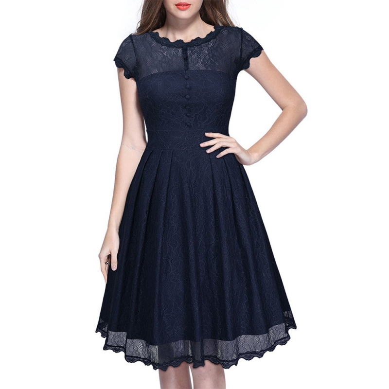 Elegant Floral Lace Dress Women O Neck Puff Sleeve Back V Fit and Flare Dress Party Special Occasion Bridesmaid Mother of Bride