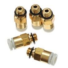 4pcs 3D Printer M6 Thread Nozzle Brass Pneumatic Connector 4 2mm Teflon tube Quick Joint For