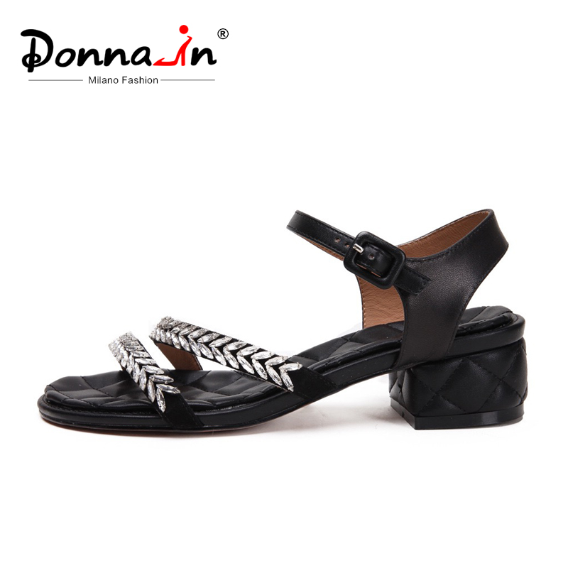 Donna in Women Sandals Genuine Leather Shoes Women Summer Mid Thick Heels Diamond Buckle Comfortable Sandals