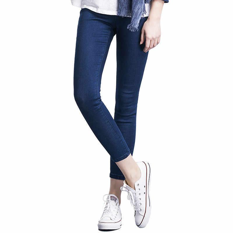 Jeans Wanita Plus Ukuran Kasual Pinggang Tinggi Musim Panas Musim Gugur Celana Slim Stretch Katun Denim Celana untuk Wanita Biru Hitam 4XL 5XL 6XL