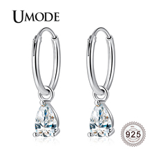 UMODE 2019 New 925 Sterling Silver Water Drop Drop Earrings for Women White Gold Zircon Crystal Jewelry Boucle D'oreille ALE0646 цена