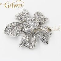 Free Shipping Rose Flower Rhinstone And Crystal Bridal Brooch Wedding Jewelry