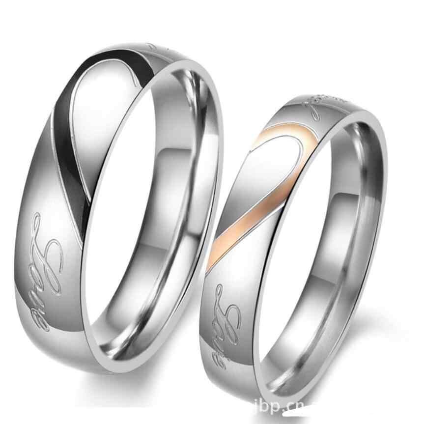 Acier inoxydable argent demi coeur Simple cercle véritable amour Couple anneau de mariage bagues de fiançailles vendre en anneau unique
