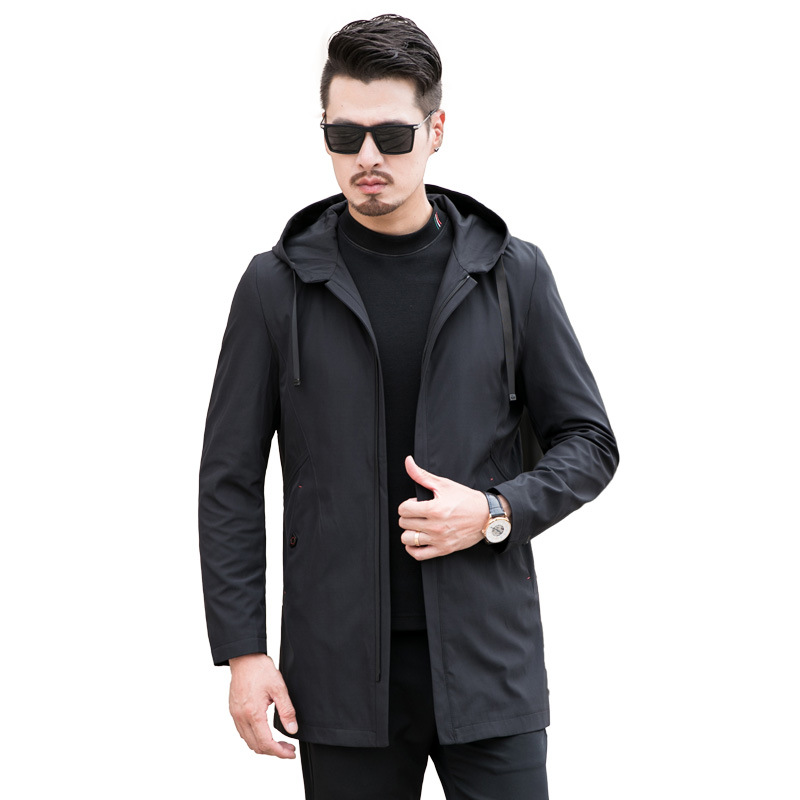 Men   Trench   Coat Men's Fashion Spring Autumn Hooded Jacket Mens Casual Windbreaker Outerwear Male Jaqueta 7XL 8XL