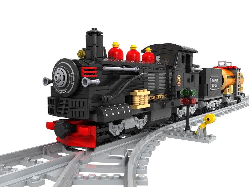 Ausini model building kits compatible with lego city train 889 3D blocks Educational model & building toys hobbies for children