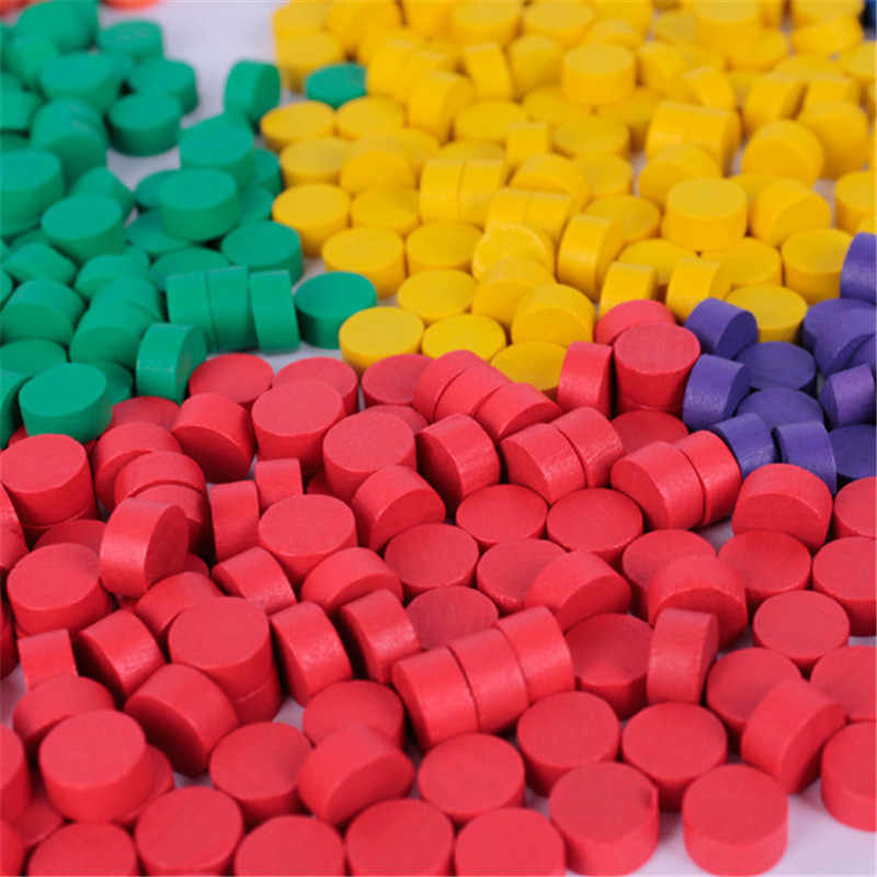80Pcs Diameter 10*5MM 8 Colors Pawn Wooden Game Pieces Colorful Pawn/Chess For Board game/Educational Games Accessories