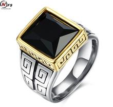 Vintage Look Stainless Steel Square Black Cz Cubic Zirconia Pave Signet Ring For Men Great Wall Pattern Party Men Solid Ring