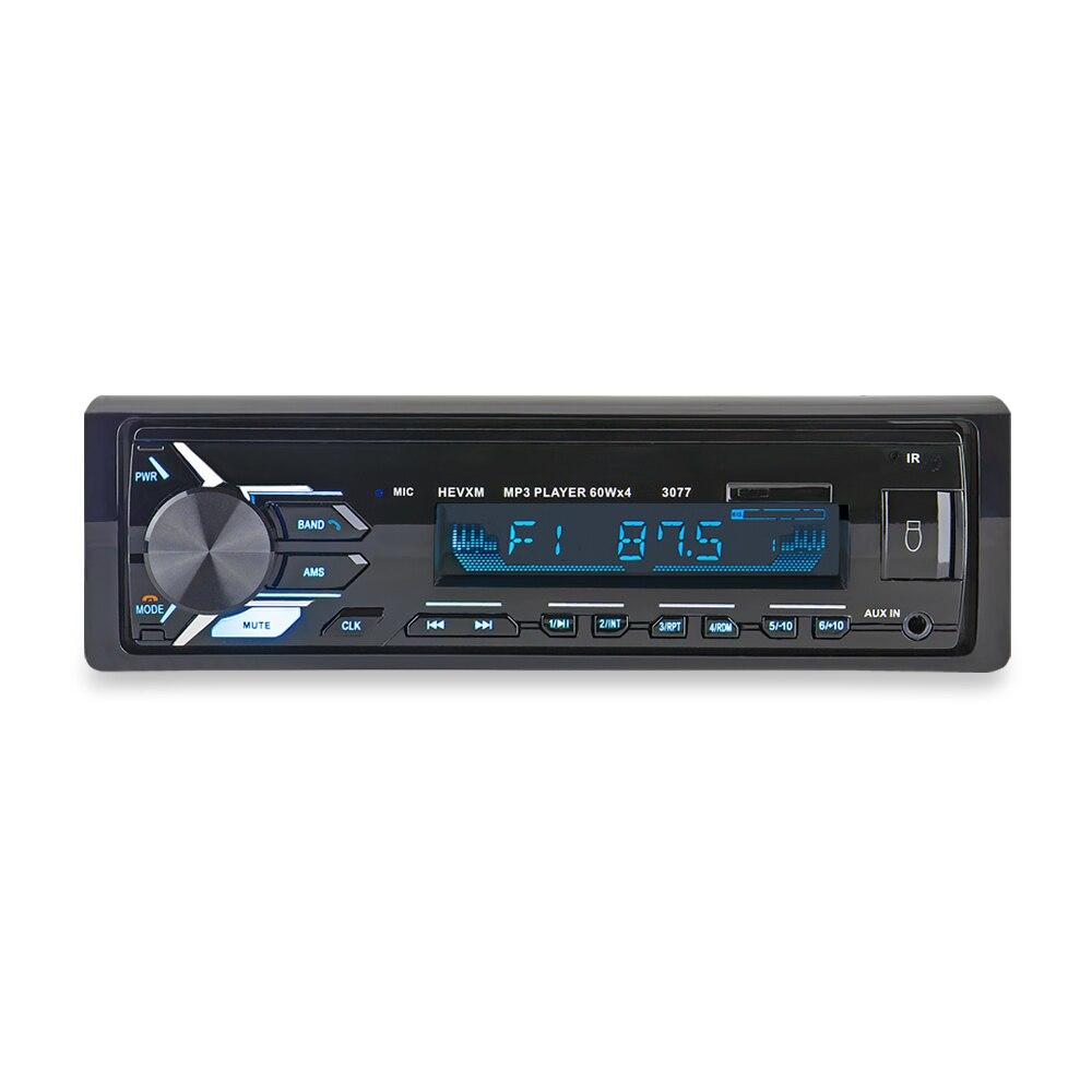 3077 автомобиль синий зуб MP3 плеер радио Автомобильный MP3 плеер 12 В синий зуб стерео аудио в тире одного 1 din FM приемник Aux Вход-in MP3-плеер для авто from Автомобили и мотоциклы