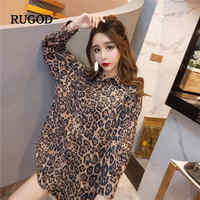 RUGOD Sexy women tops leopard print midi waistband long sleeves korean style spring and autumn fashion streetwear women blouses