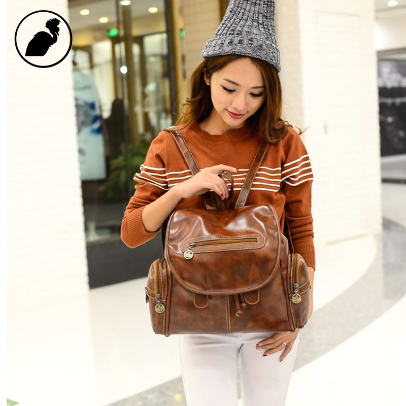ETONWEAG Brands PU Leather Backpacks For Teenage Girls Brown Fashion Designer Backpack Women School Bags Small Travel Luggage 2016 fashion women waterproof pu leather rivet backpack women s backpacks for teenage girls ladies bags with zippers black bags