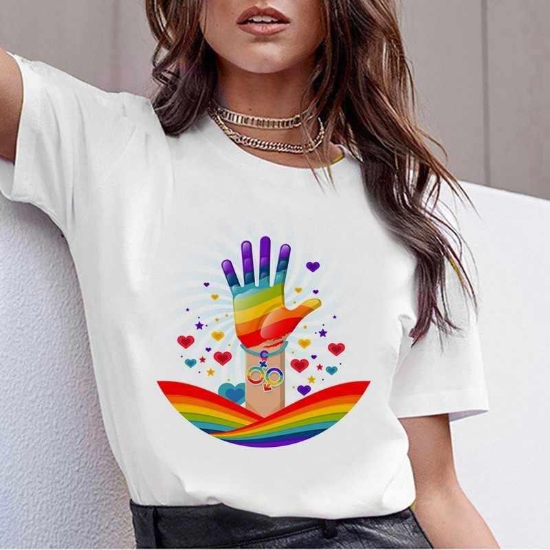 LGBT T Áo Sơ Mi Nữ New Đồng Tính Niềm Tự Hào Áo Thun Nữ Tình Yêu Đồng Tính Nữ Rainbow Love Là Áo Thun Mùa Hè Harajuku đầu Tee