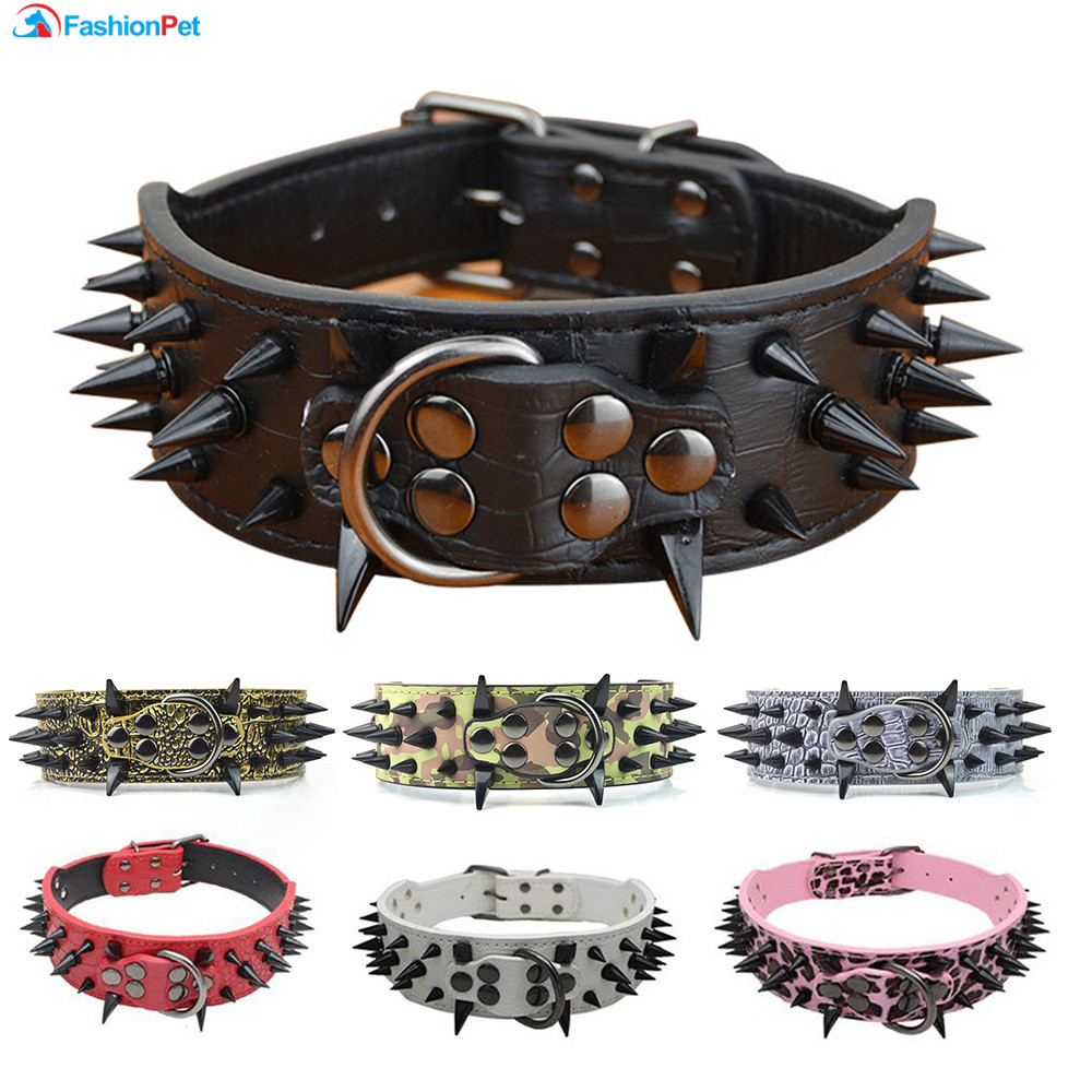 High Quality 2 Width PU Leather Big Dog Collar with Black Sharp Spikes Studded for Large Dog Pitbull Mastiff