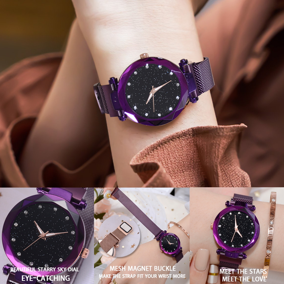 Top Brand Watches For Women Rose Gold Mesh Magnet Buckle Starry Quartz Watch Geometric Surface Casual Women Quartz Wristwatch 4