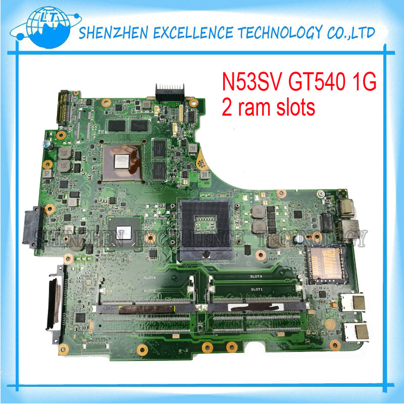 for ASUS N53SV N53SN N53SM Original laptop motherboard (mainboard) GT540M 2RAM slots REV2.2 USB 3.0 100% test original new laptop motherboard for asus k52jc rev 2 1 ddr3 n11m ge2 s b1 mainboard