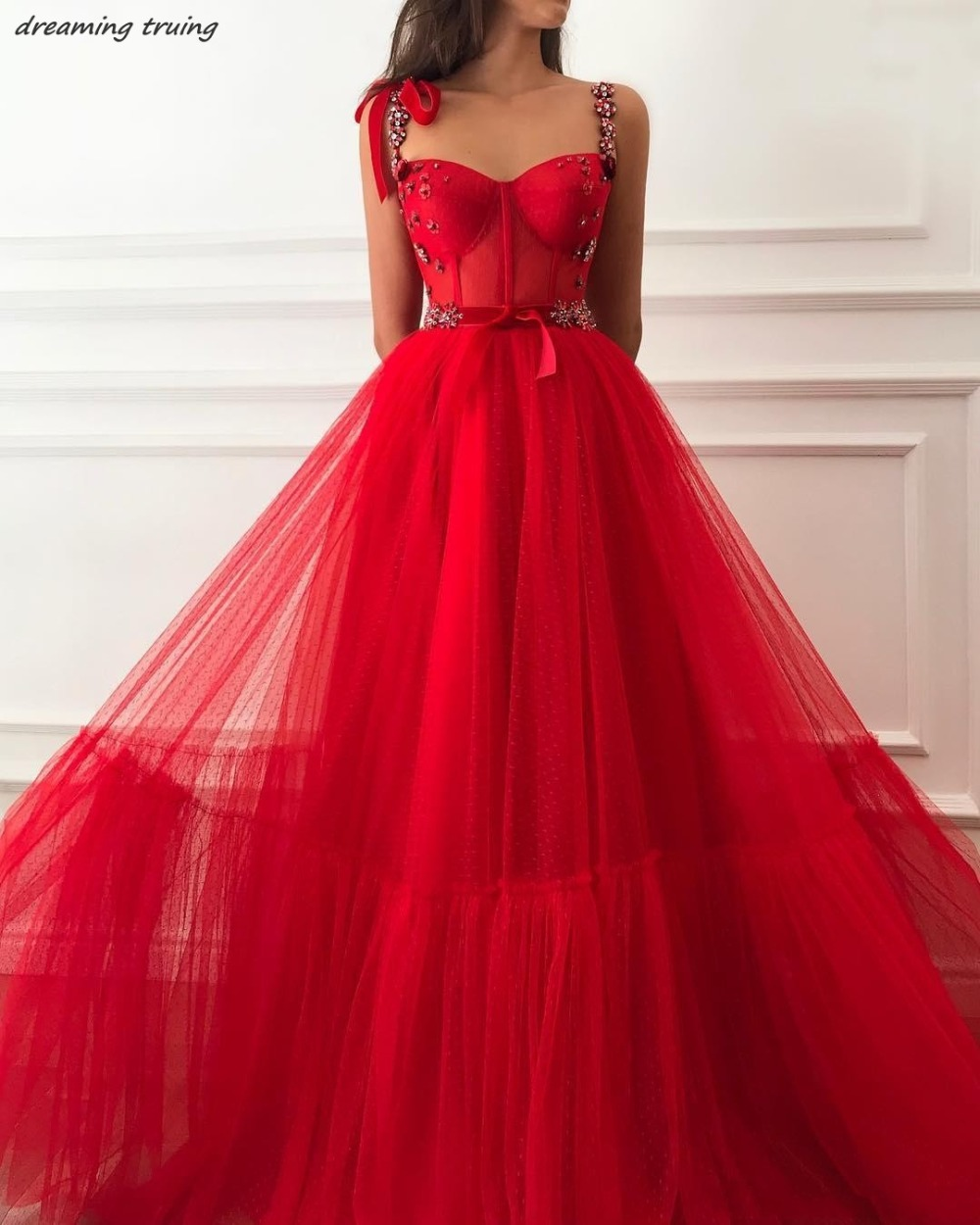Hippie Red Sweetheart Bows   Prom     Dresses   Long Spaghetti Strap 3D Flowers Open Back Women Party Gowns Robe De Soiree 2019
