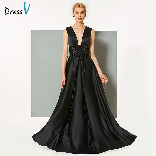 Vestido negro cuello en v