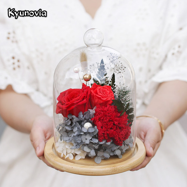 Kyunovia Natural Real Red Rose Flower Preserved Fresh Dried Flowers