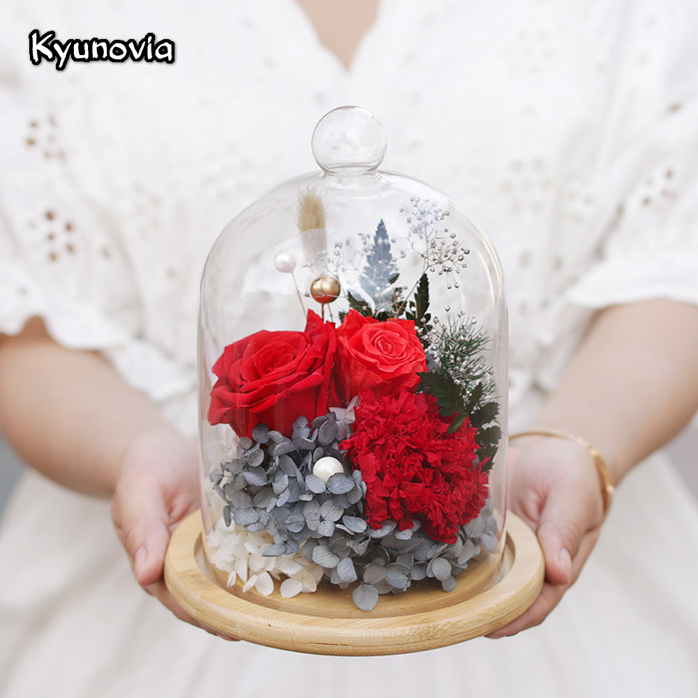 Kyunovia Natural Real Red Rose Flower Preserved Fresh Dried Flowers Valentine's Day Birthday Gifts Home Decoration KY117