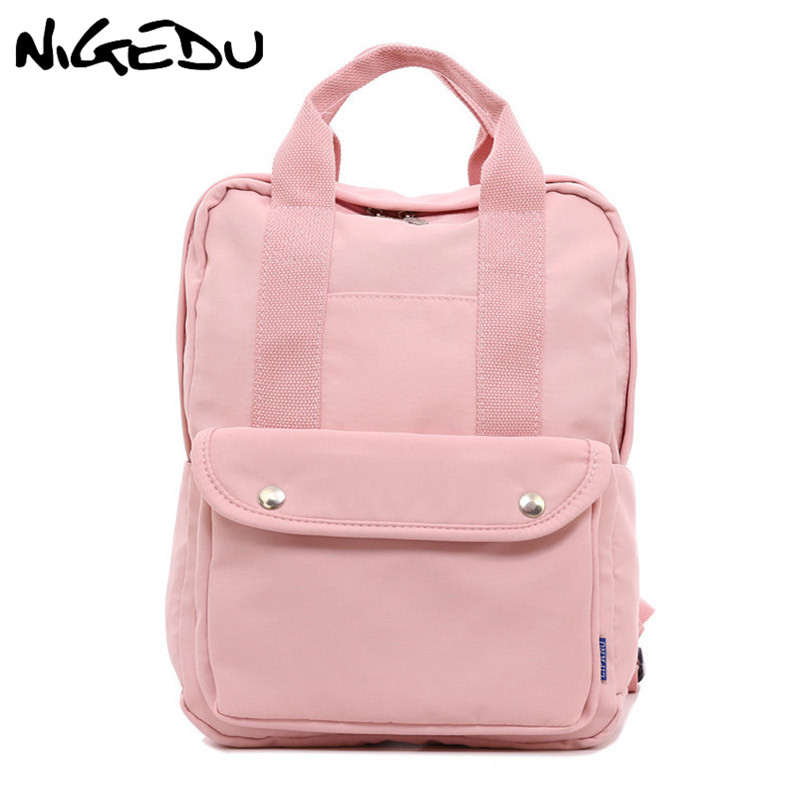 Nylon Backpack Women Travel Bag Lovely Pink School Bag For Teenage Girls Laptop Bag 14 Female Backpack Big Capacity Bagpack Gray
