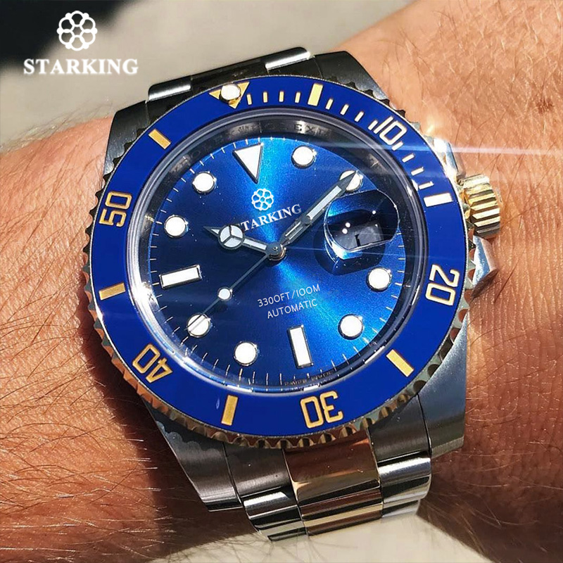 Starking Watches Men 100m ATM Automatic Mechanical watches stainless steel Hardlex mens WristWatch Casual steel strap Clock New стоимость