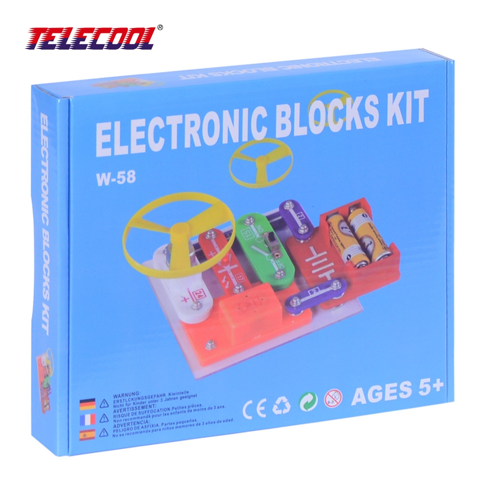 TELECOOL Circuits Smart Electronic Block W-58 Kit Integrated Circuit Building Blocks Educational Science Innovation Learning Toy smart electronic kit snap learning educational appliance toys diy building blocks models electronic 35 projects kid create toy