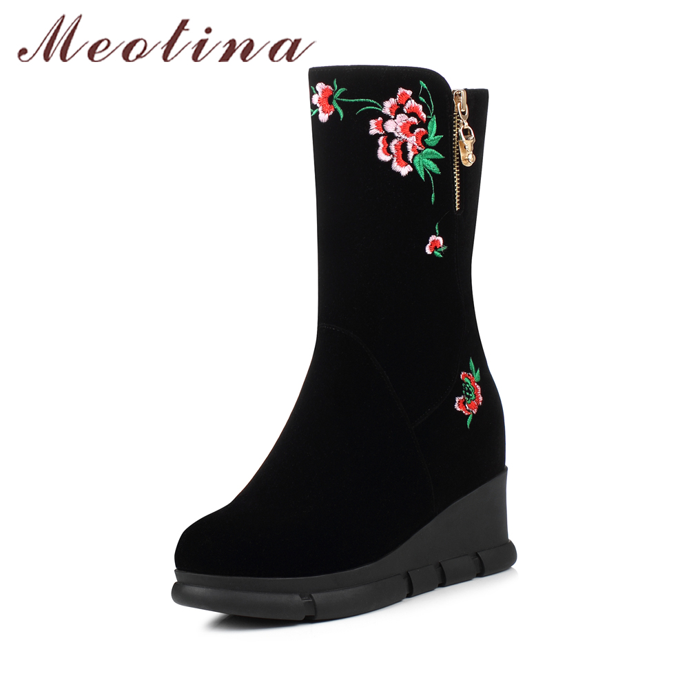 Meotina Women Boots Winter Embroider Platform Wedge Heels Boots Mid Calf Chinese Boots Female Autumn Shoes 2018 Chaussure Femme double buckle cross straps mid calf boots