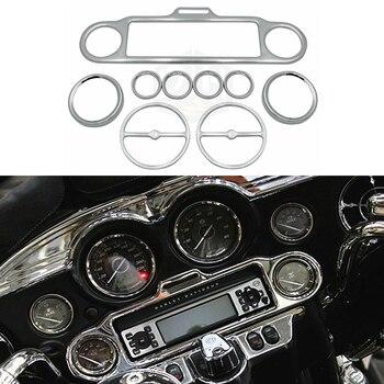 Cubiertas Triclicks de acero cromado para coche, medidor de velocidad, medidores de velocidad, velocímetro, medidores de bocina, cubierta para Harley Electra Street Road Glide