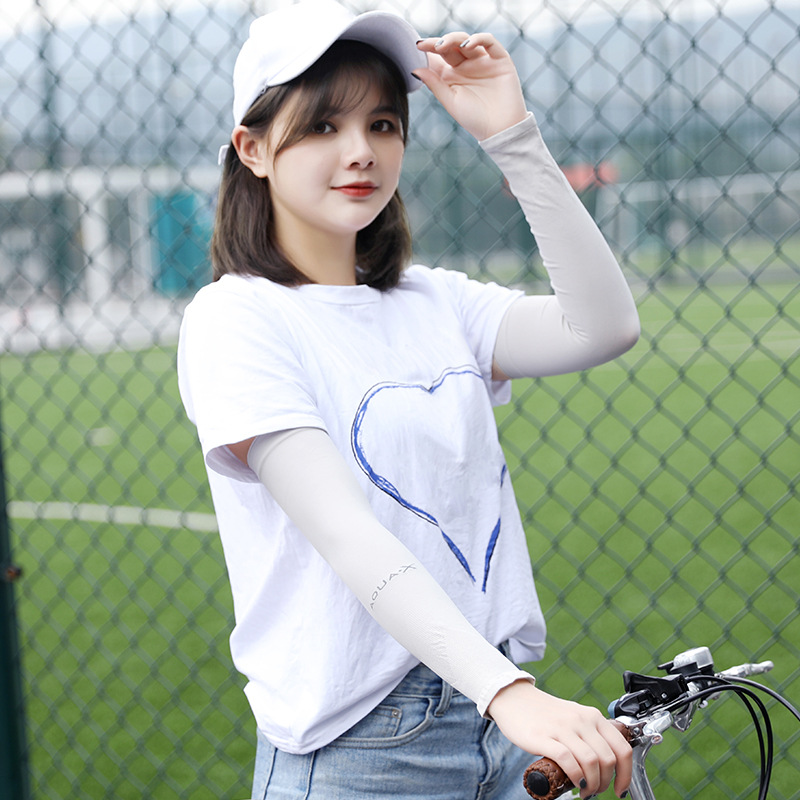 1Pair Unisex UV Sunscreen Bike Cycling Half Finger Cuff Hand Protection Women&Men Fingerless Long Gloves Summer Arm Sleeves 1131