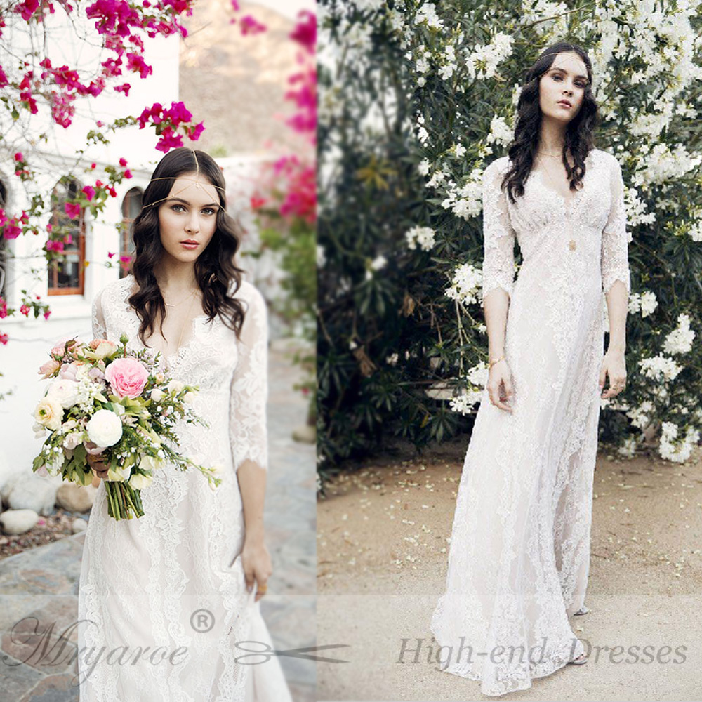 ... Mryarce vestido de noiva 2018 Romantic French Lace Wedding Dress Deep V  Neck Empire Waist A. -2 -1 9d77b1234e49