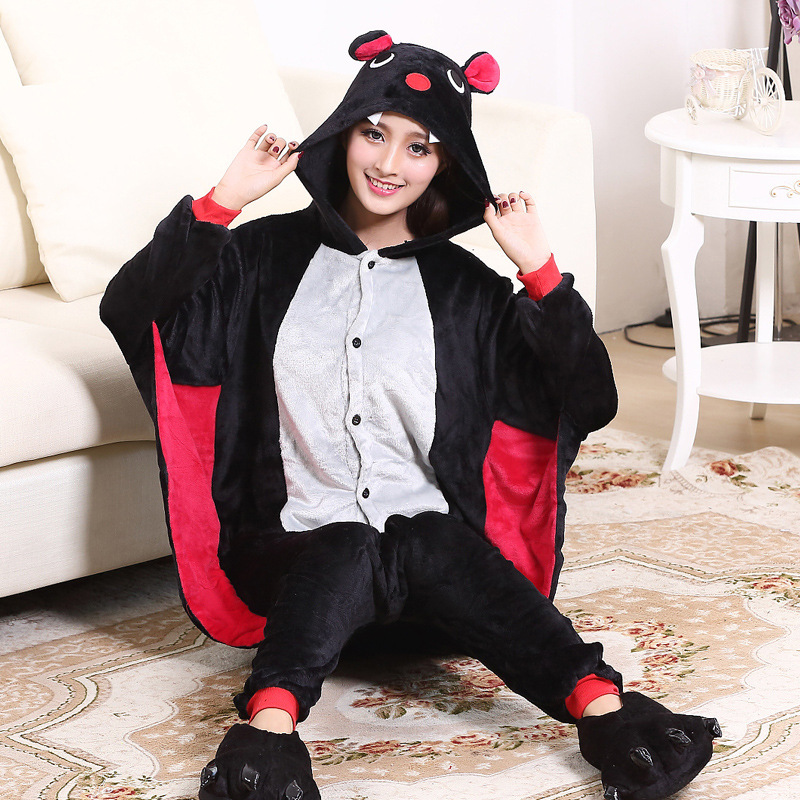 Bat Kigurumi Women Girls Animal Onesie Funny Cute Pajama Winter Warm Sleep Suit Festival Cartoon Party Game Outfit Men Overalls