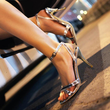 HEE GRAND 2017 Summer Sandals Women's Patent Leather Thin Heels Pumps Ankle Strap Rome Shoes Woman For Party Size Plus XWZ222