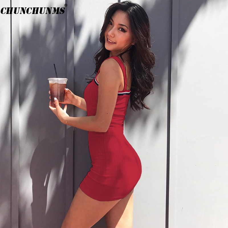2018 Sexy Knitting Cotton Women Dress Strapless Shoulder Sleeveless Party Slim Red Dresses Office Lady Braces Party Dress D25