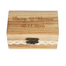 Ring-Box Wooden Rustic Wedding-Ring Engraved Gift Custom-Your-Names Personalized And