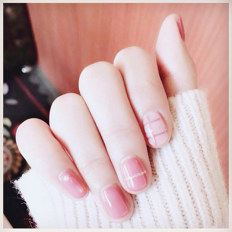 Best Price 24pcs cute fresh pink with silver glitter line short ...