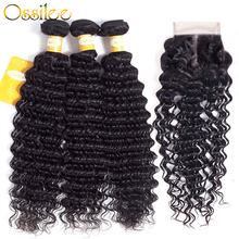 Ossilee Deep Wave Bundles with Closure Peruvian Hair Bundles with Closure Human Hair 3 Bundles with Closure NonRemy Hair
