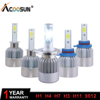 AcooSun H4 H7 LED Car Headlight C6 H1 H3 Headlamp Light H8 H11 HB3 9005 HB4